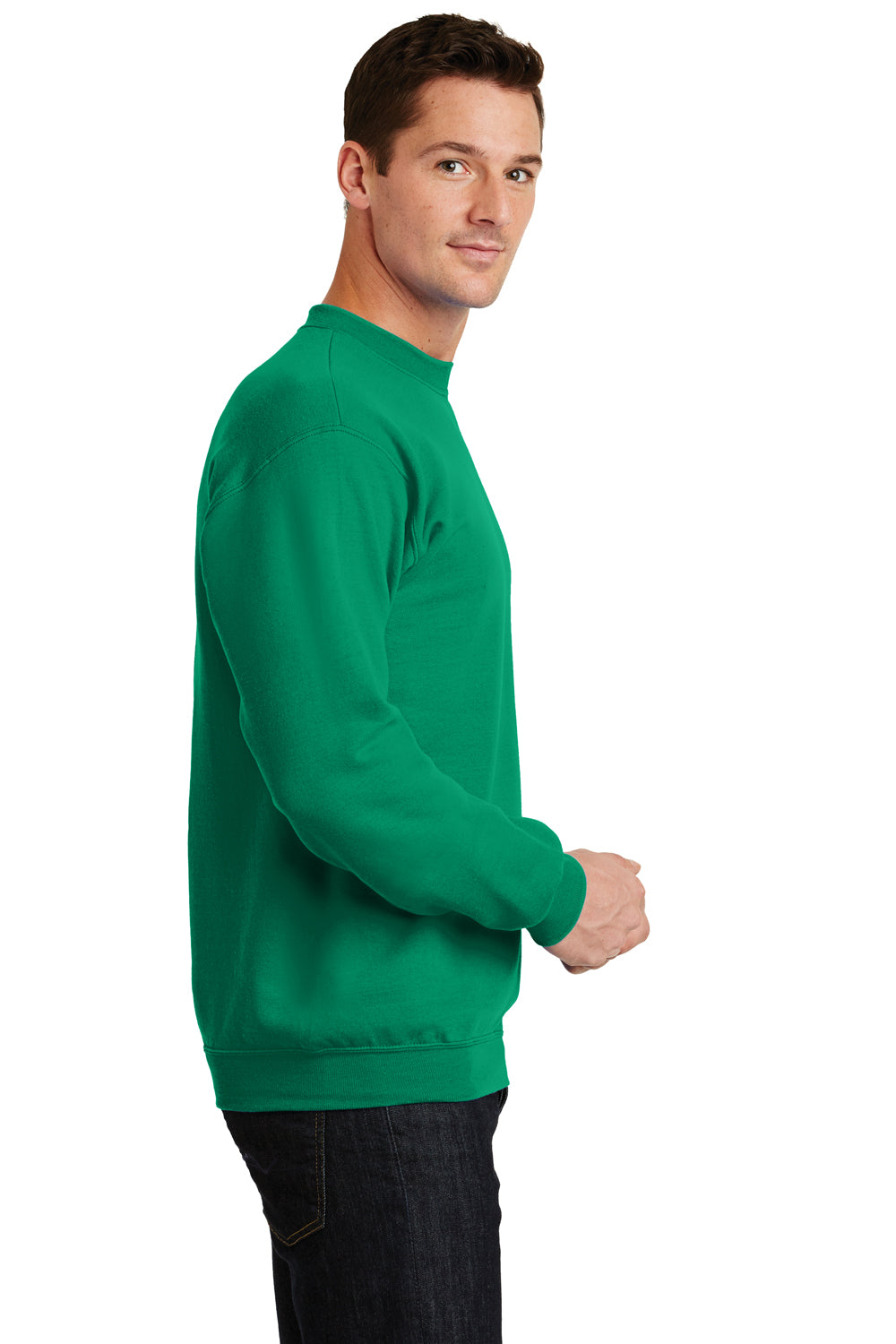 Port & Company PC78 Mens Core Fleece Crewneck Sweatshirt Kelly Green Side