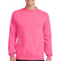 Port & Company Mens Core Fleece Crewneck Sweatshirt - Neon Pink