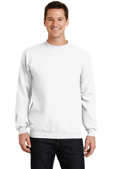 Port & Company PC78 Mens Core Fleece Crewneck Sweatshirt White Front