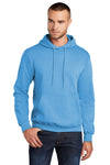 Port & Company PC78H Mens Core Fleece Hooded Sweatshirt Hoodie Aqua Blue Front