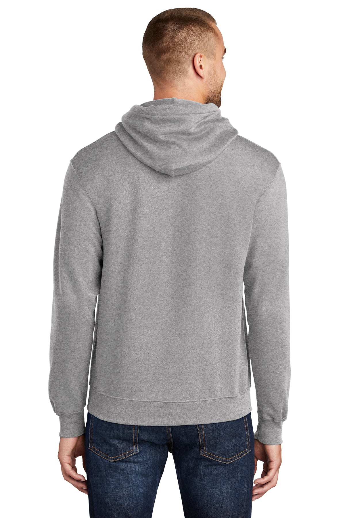Port & Company PC78H Mens Core Fleece Hooded Sweatshirt Hoodie Heather Grey Back