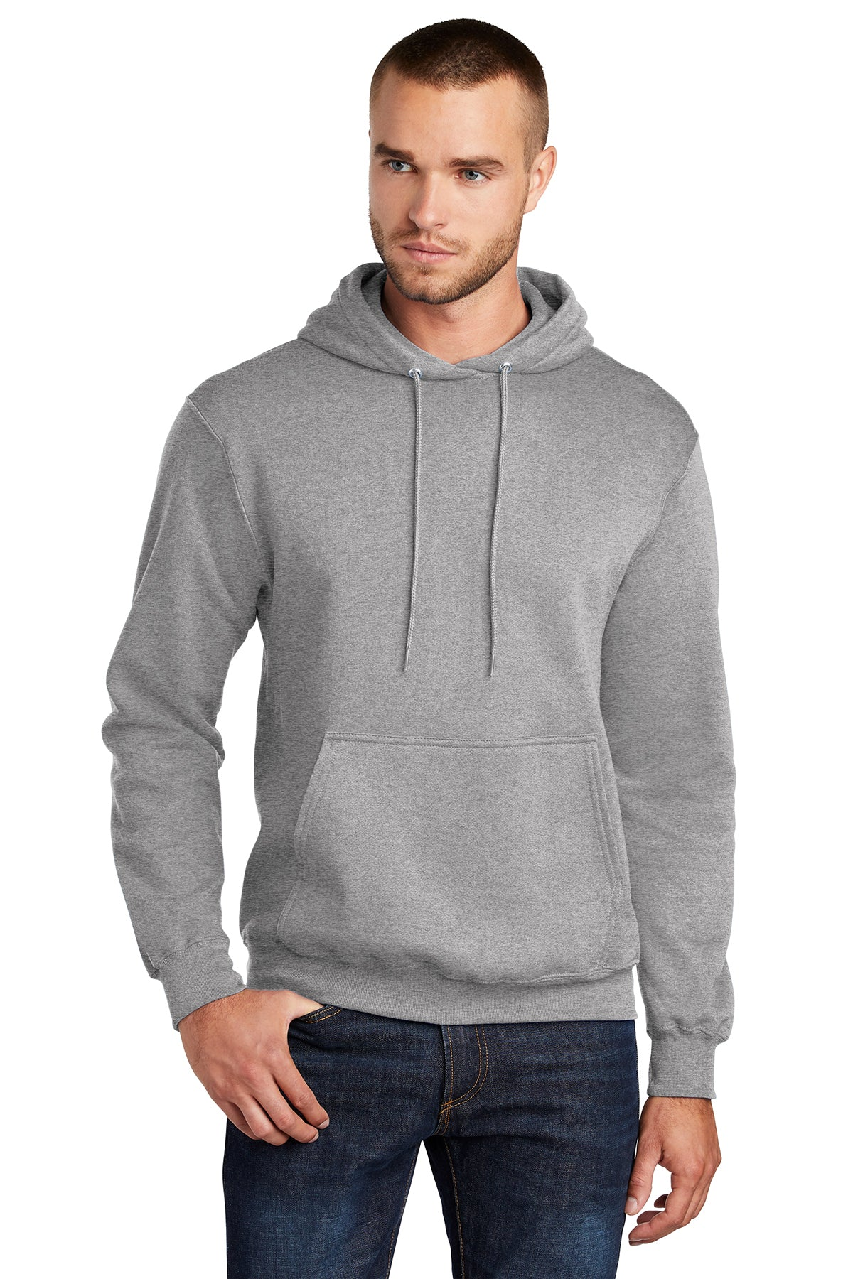 Port & Company PC78H Mens Core Fleece Hooded Sweatshirt Hoodie Heather Grey Front