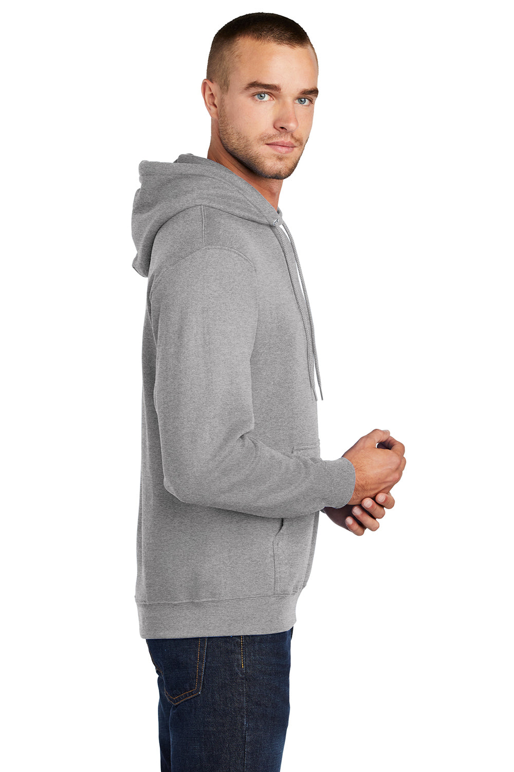 Port & Company PC78H Mens Core Fleece Hooded Sweatshirt Hoodie Heather Grey Side