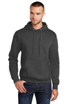 Port & Company PC78H Mens Core Fleece Hooded Sweatshirt Hoodie Heather Dark Grey Front