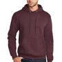Port & Company Mens Core Fleece Hooded Sweatshirt Hoodie - Heather Athletic Maroon