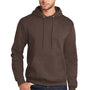 Port & Company Mens Core Fleece Hooded Sweatshirt Hoodie - Heather Dark Chocolate Brown