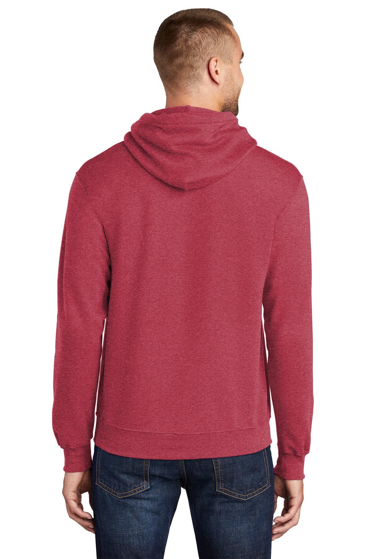 Port & Company PC78H Mens Core Fleece Hooded Sweatshirt Hoodie Heather Red Back