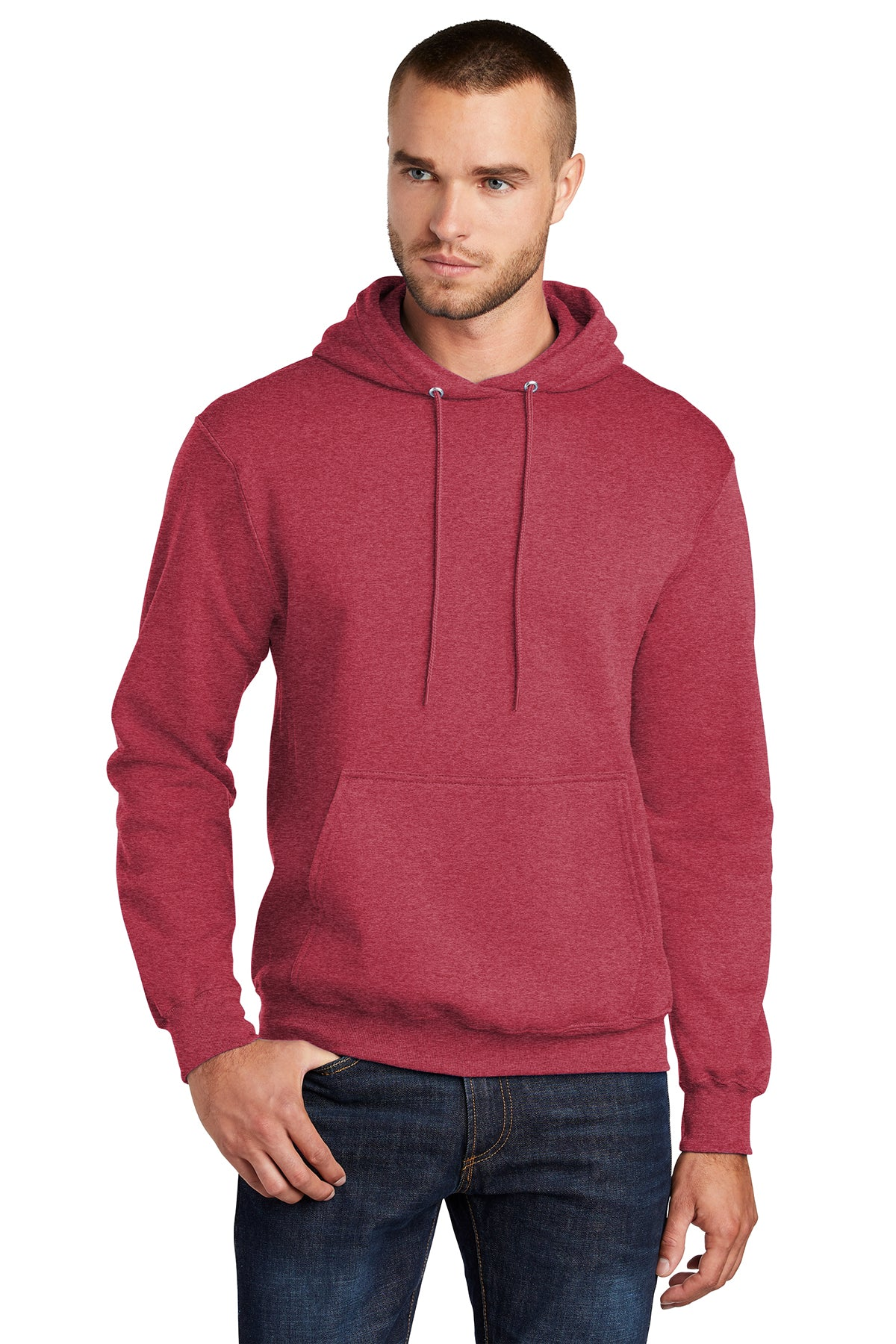 Port & Company PC78H Mens Core Fleece Hooded Sweatshirt Hoodie Heather Red Front