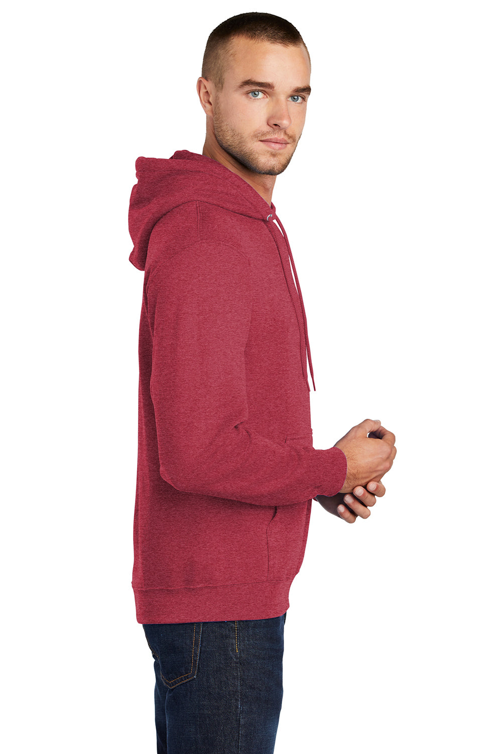 Port & Company PC78H Mens Core Fleece Hooded Sweatshirt Hoodie Heather Red Side