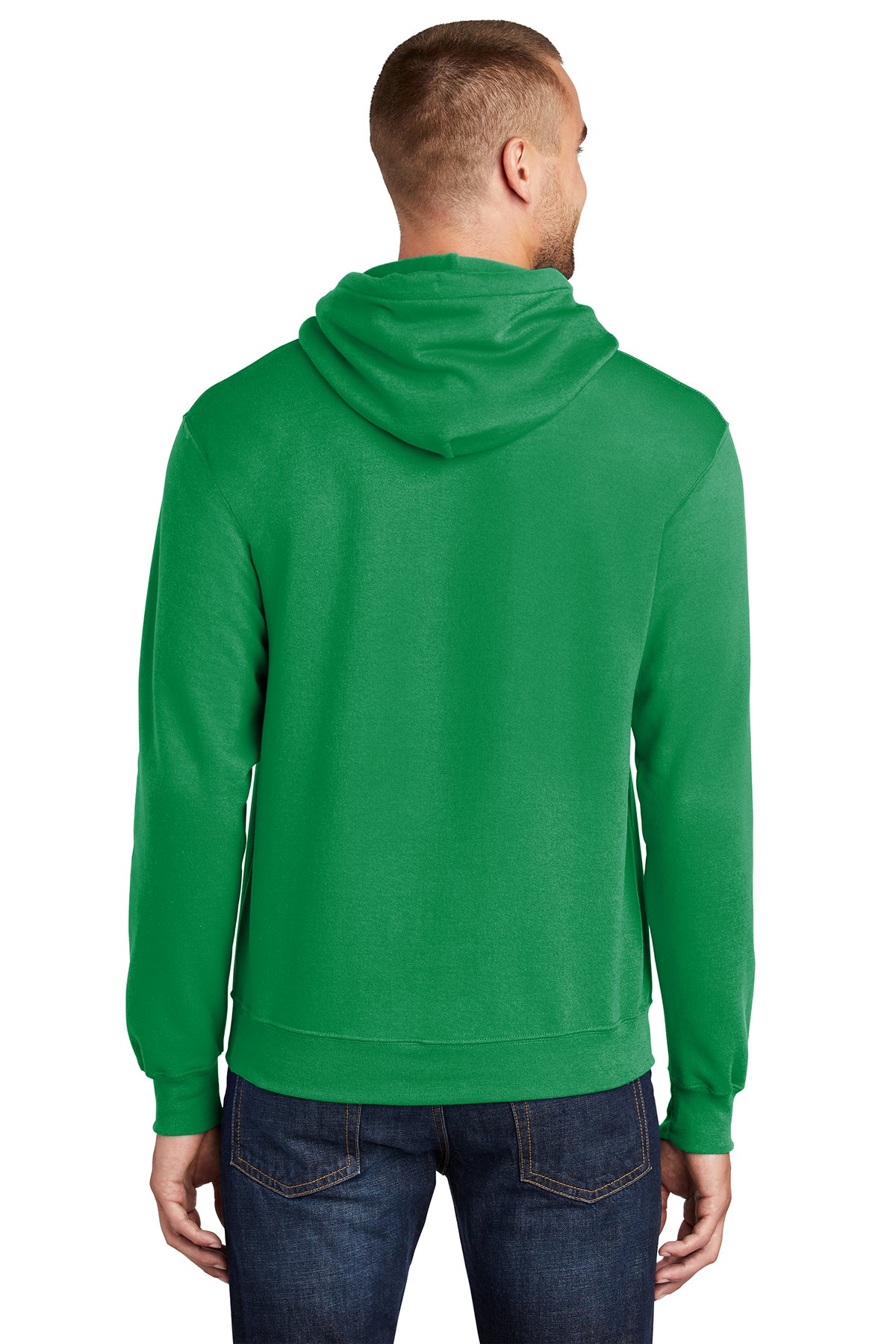 Port & Company PC78H Mens Core Fleece Hooded Sweatshirt Hoodie Kelly Green Back