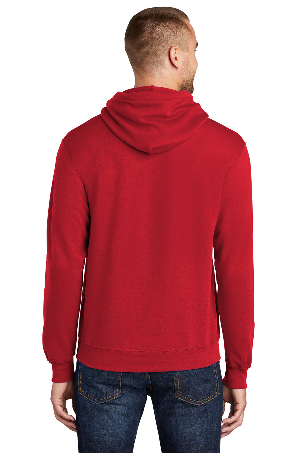 Port & Company PC78H Mens Core Fleece Hooded Sweatshirt Hoodie Red Back