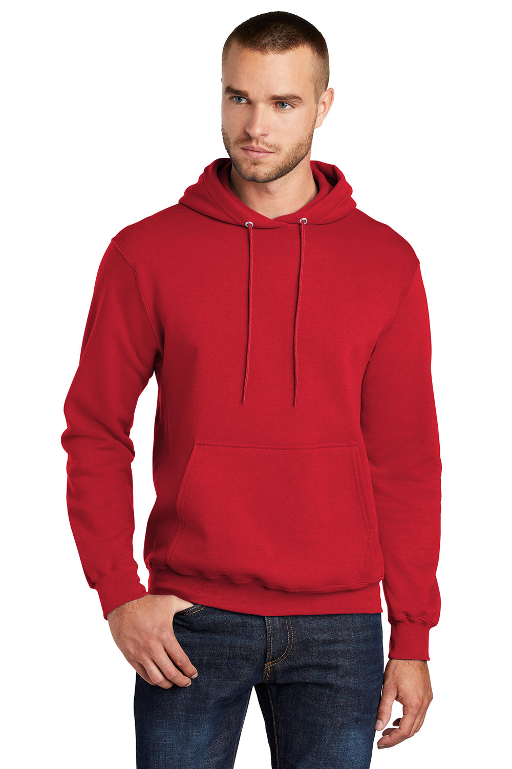 Port & Company PC78H Mens Core Fleece Hooded Sweatshirt Hoodie Red Front