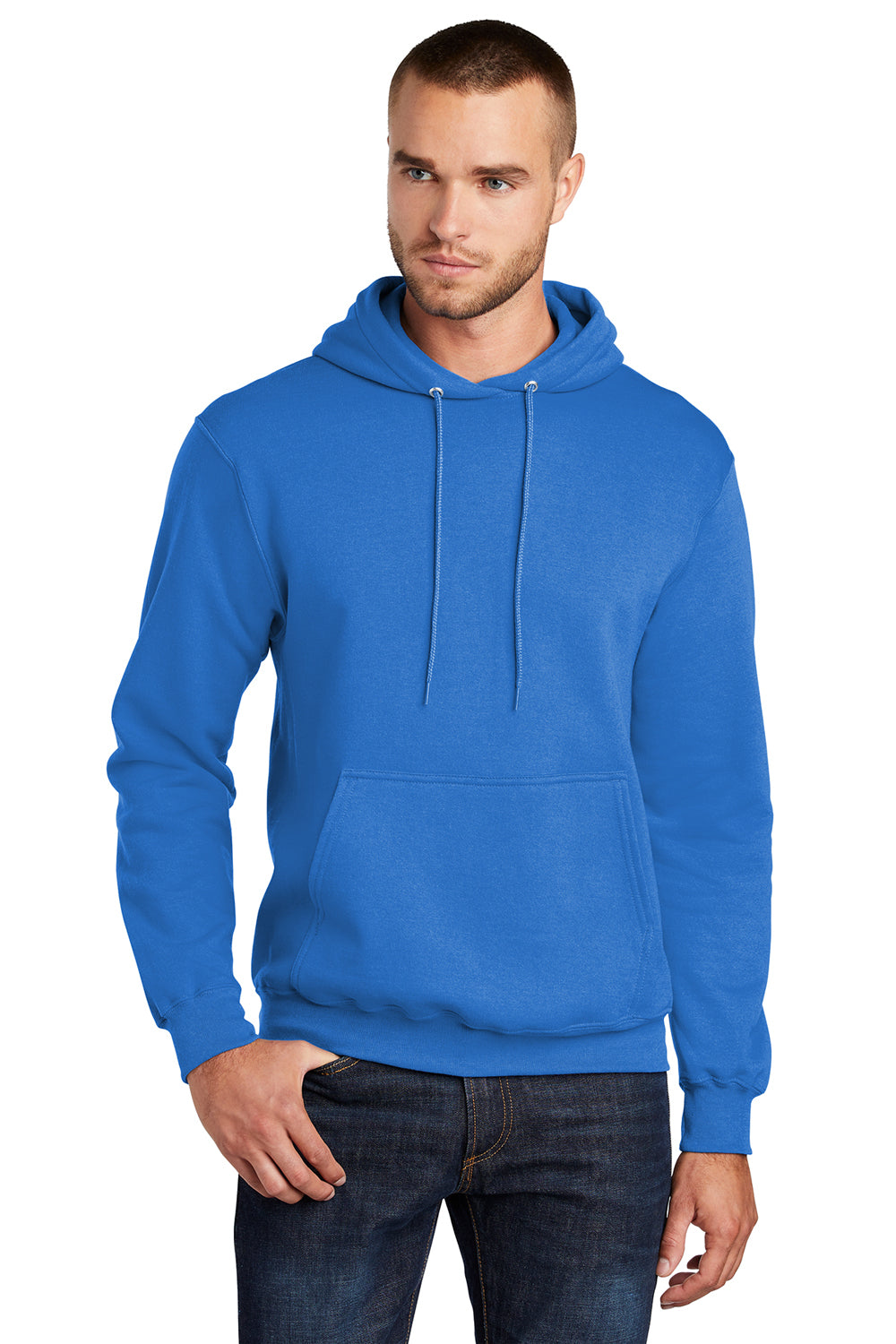 Port & Company PC78H Mens Core Fleece Hooded Sweatshirt Hoodie Royal Blue Front