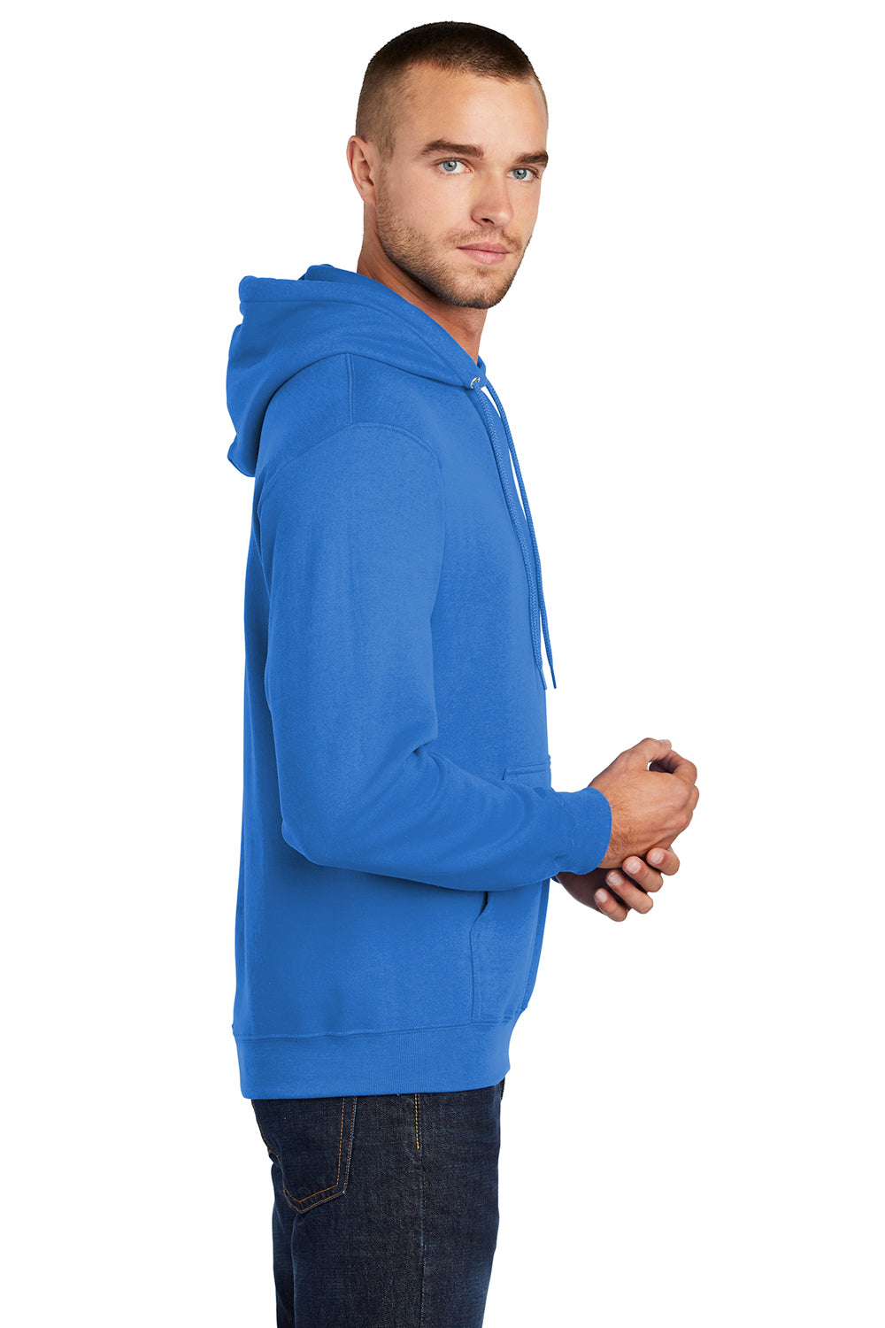 Port & Company PC78H Mens Core Fleece Hooded Sweatshirt Hoodie Royal Blue Side