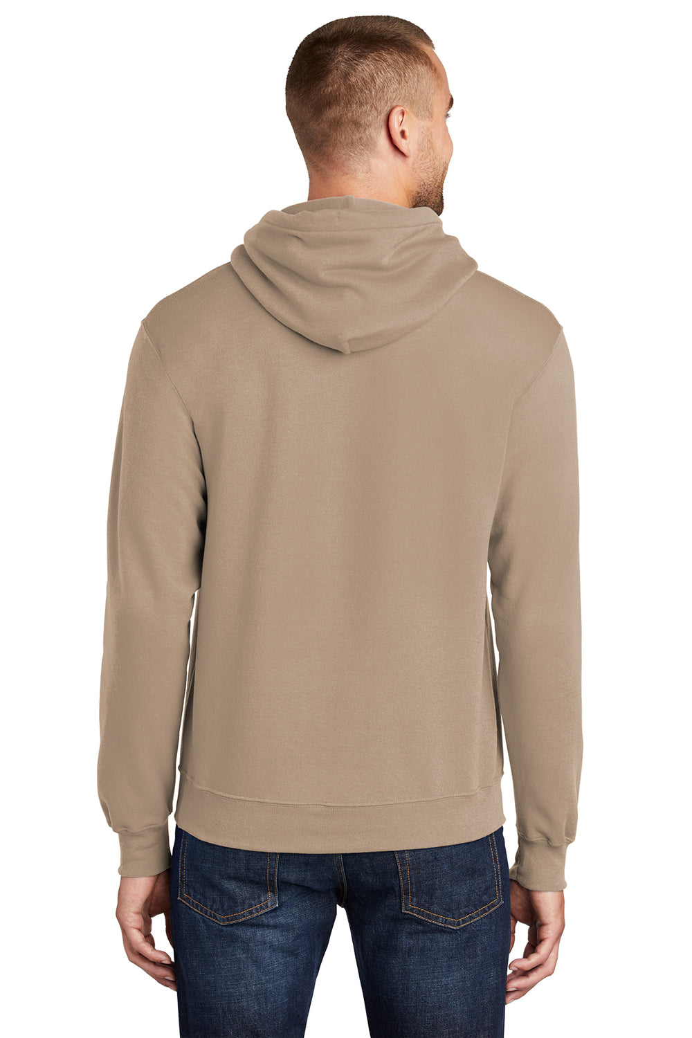 Port & Company PC78H Mens Core Fleece Hooded Sweatshirt Hoodie Sand Brown Back
