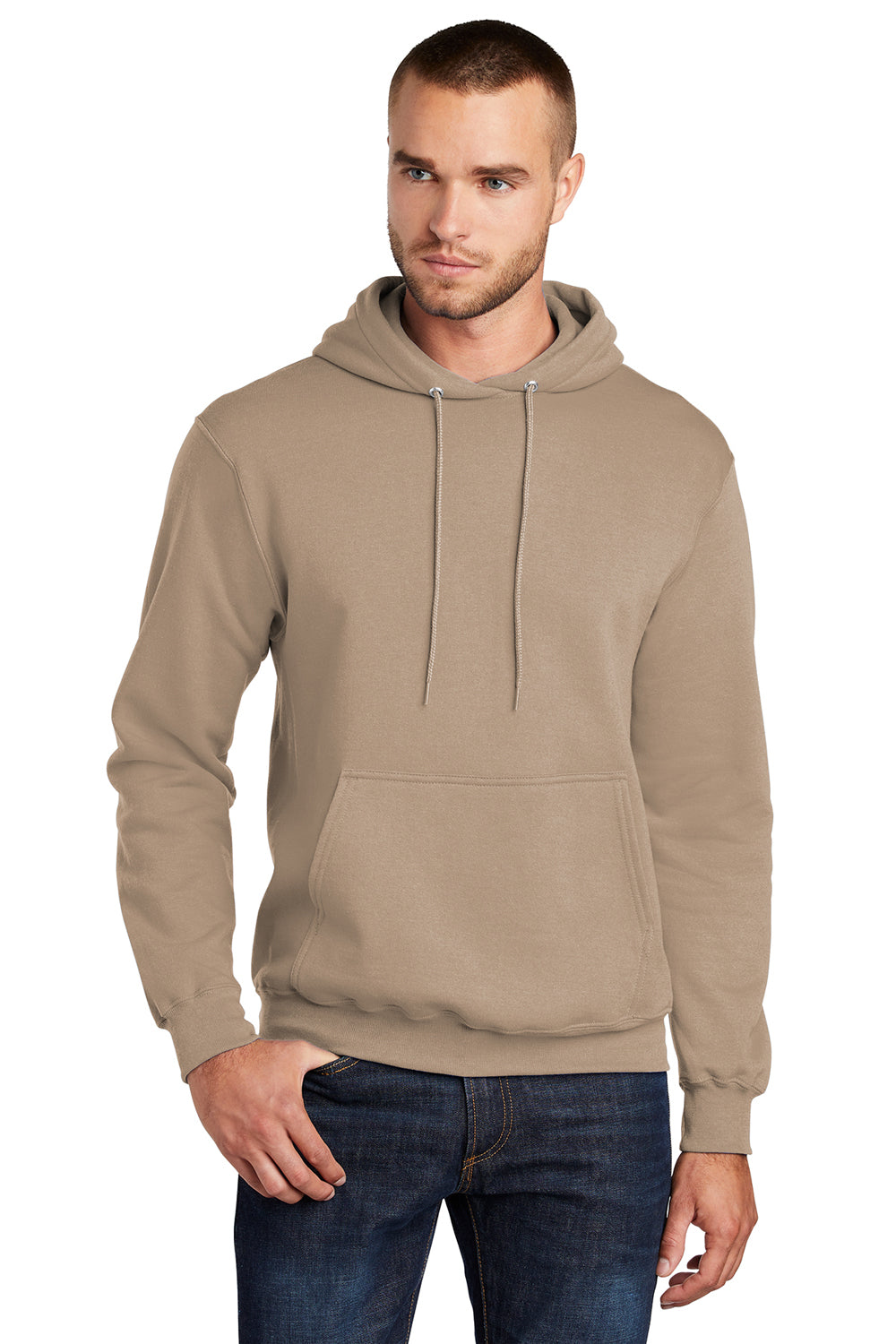 Port & Company PC78H Mens Core Fleece Hooded Sweatshirt Hoodie Sand Brown Front