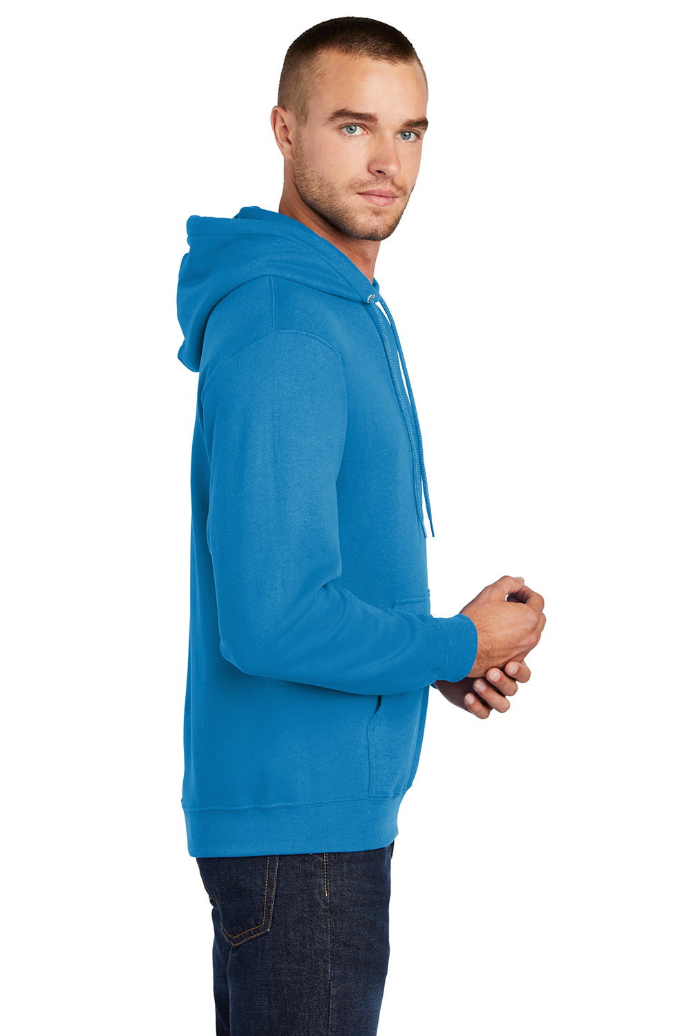 Port & Company PC78H Mens Core Fleece Hooded Sweatshirt Hoodie Sapphire Blue Side