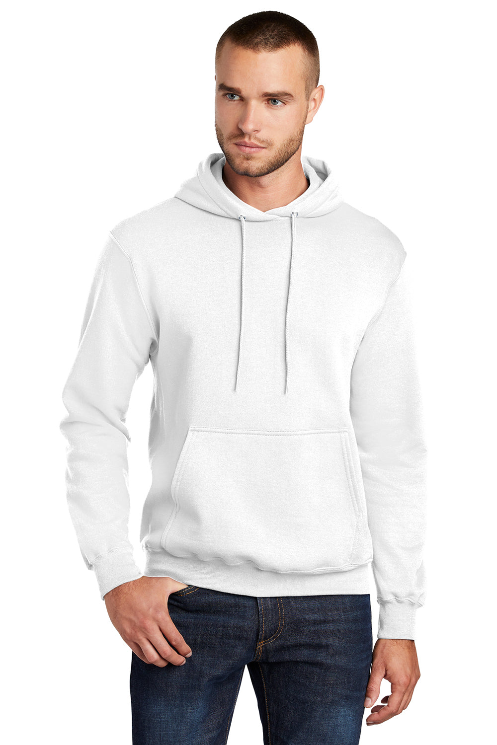 Port & Company PC78H Mens Core Fleece Hooded Sweatshirt Hoodie White Front