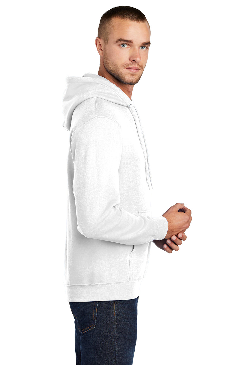 Port & Company PC78H Mens Core Fleece Hooded Sweatshirt Hoodie White Side