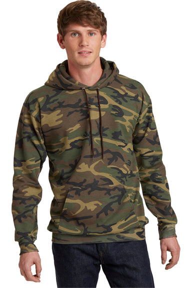 Port & Company PC78HC Mens Core Fleece Hooded Sweatshirt Hoodie Military Camo Front