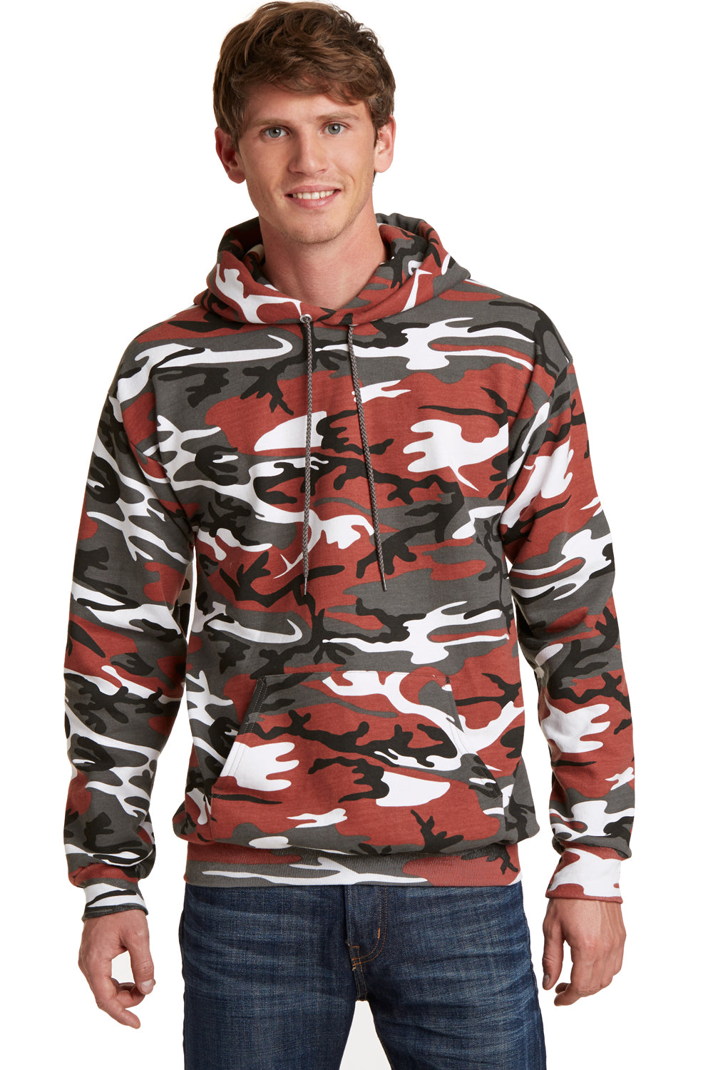 Port & Company PC78HC Mens Core Fleece Hooded Sweatshirt Hoodie Red Camo Front