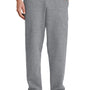 Port & Company Mens Core Fleece Open Bottom Sweatpants w/ Pockets - Heather Grey