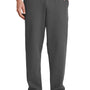 Port & Company Mens Core Fleece Open Bottom Sweatpants w/ Pockets - Charcoal Grey