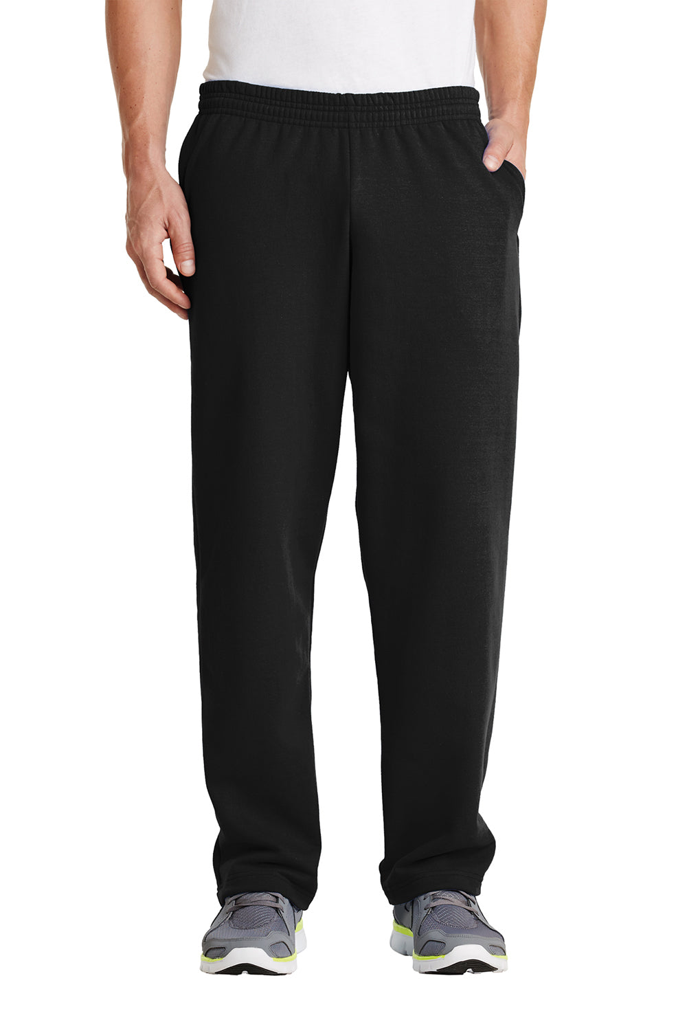 Port & Company PC78P Mens Core Fleece Open Bottom Sweatpants w/ Pockets Black Front