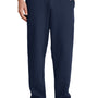 Port & Company Mens Core Fleece Open Bottom Sweatpants w/ Pockets - Navy Blue