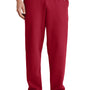 Port & Company Mens Core Fleece Open Bottom Sweatpants w/ Pockets - Red