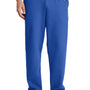 Port & Company Mens Core Fleece Open Bottom Sweatpants w/ Pockets - Royal Blue
