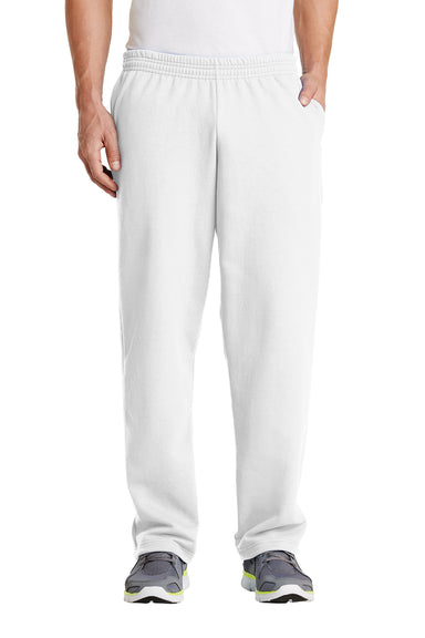 Port & Company PC78P Mens Core Fleece Open Bottom Sweatpants w/ Pockets White Front