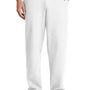Port & Company Mens Core Fleece Open Bottom Sweatpants w/ Pockets - White