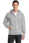 Port & Company PC78ZH Mens Core Fleece Full Zip Hooded Sweatshirt Hoodie Ash Grey Front