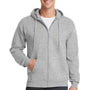 Port & Company Mens Core Fleece Full Zip Hooded Sweatshirt Hoodie - Ash Grey
