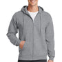 Port & Company Mens Core Fleece Full Zip Hooded Sweatshirt Hoodie - Heather Grey