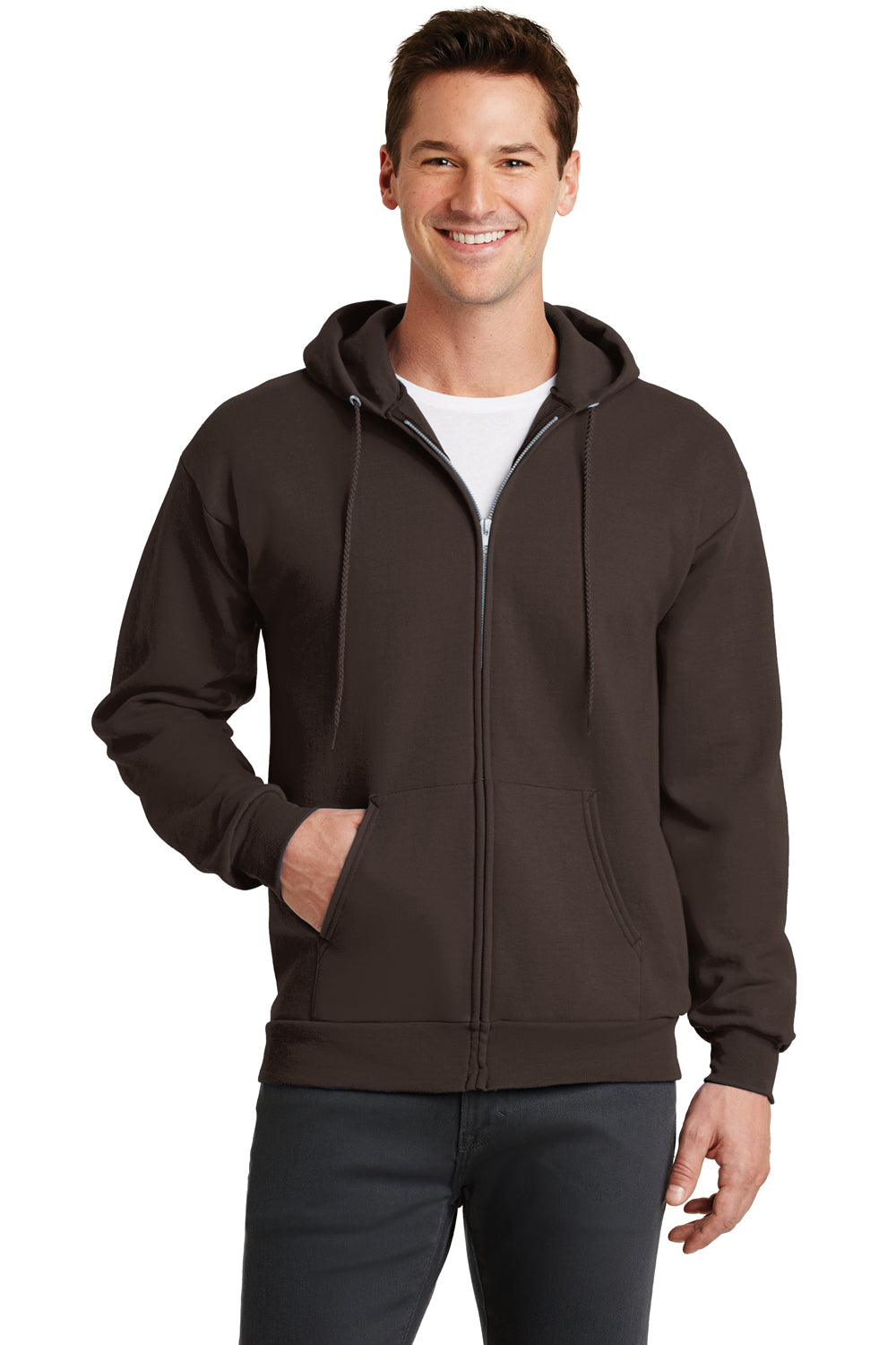 Port & Company PC78ZH Mens Core Fleece Full Zip Hooded Sweatshirt Hoodie Chocolate Brown Front