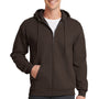 Port & Company Mens Core Fleece Full Zip Hooded Sweatshirt Hoodie - Dark Chocolate Brown