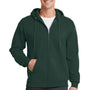 Port & Company Mens Core Fleece Full Zip Hooded Sweatshirt Hoodie - Dark Green