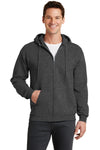 Port & Company PC78ZH Mens Core Fleece Full Zip Hooded Sweatshirt Hoodie Heather Dark Grey Front