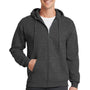 Port & Company Mens Core Fleece Full Zip Hooded Sweatshirt Hoodie - Heather Dark Grey