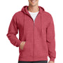 Port & Company Mens Core Fleece Full Zip Hooded Sweatshirt Hoodie - Heather Red