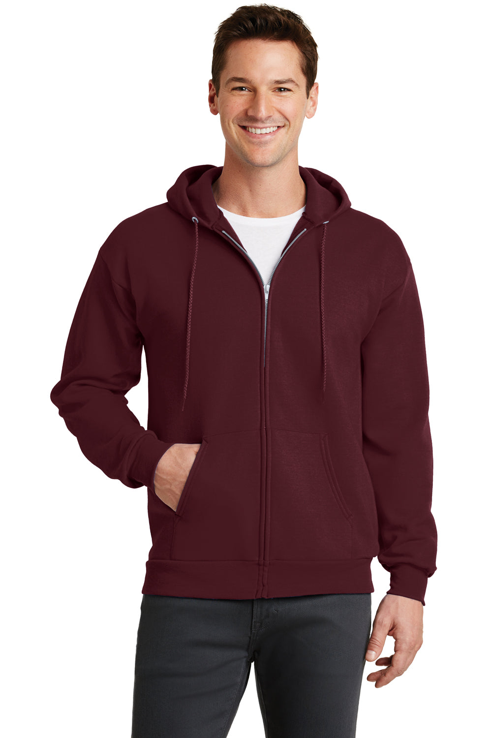 Port & Company PC78ZH Mens Core Fleece Full Zip Hooded Sweatshirt Hoodie Maroon Front