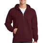 Port & Company Mens Core Fleece Full Zip Hooded Sweatshirt Hoodie - Maroon