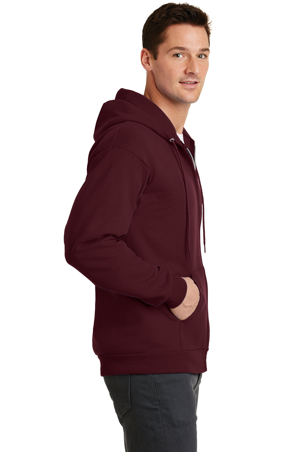 Port & Company PC78ZH Mens Core Fleece Full Zip Hooded Sweatshirt Hoodie Maroon Side