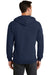 Port & Company PC78ZH Mens Core Fleece Full Zip Hooded Sweatshirt Hoodie Navy Blue Back