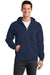 Port & Company PC78ZH Mens Core Fleece Full Zip Hooded Sweatshirt Hoodie Navy Blue Front