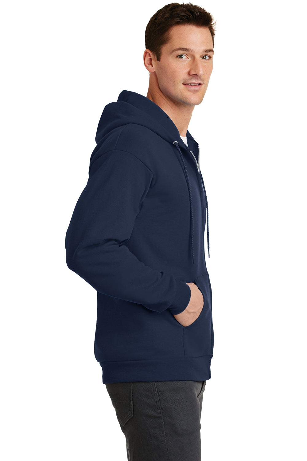 Port & Company PC78ZH Mens Core Fleece Full Zip Hooded Sweatshirt Hoodie Navy Blue Side