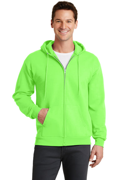 Port & Company PC78ZH Mens Core Fleece Full Zip Hooded Sweatshirt Hoodie Neon Green Front