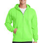 Port & Company Mens Core Fleece Full Zip Hooded Sweatshirt Hoodie - Neon Green